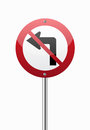 Do not turn left traffic sign on white Royalty Free Stock Image
