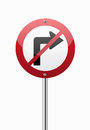 Do not turn right traffic sign on white Stock Photo