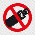 Do Not Use Usb Pendrive Stick Symbol - Vector Illustration Isolated On Transparent Background Royalty Free Stock Photo