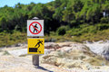Do not walk here a sign indicating to trespass and danger of falling Royalty Free Stock Images