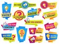 Do you know. Label sticker with did you know speech bubbles and question mark. Post article with typography marketing