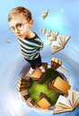 Do you like read like me concept education image egghead boy stands on books planet Royalty Free Stock Photo