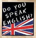 Do You Speak English on Blackboard Stock Photography