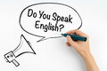 Do you speak english? Megaphone and text on a white background Royalty Free Stock Photo