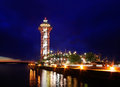 Dobbins landing and the bicentenial tower at night during the perry commemoration september erie pennsylvania usa Stock Photos