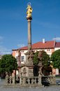 Dobruska czech republic square with marian column in town eastern bohemia Royalty Free Stock Photos