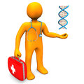 Doc dna orange cartoon character with firs aid case and white background Royalty Free Stock Photography