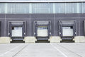 Dock cargo doors at big warehouse Royalty Free Stock Photo