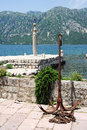 Dock of Lady of the rock island on the bay of Kotor Royalty Free Stock Photo