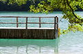 Dock on a lake from Plitvice Stock Image