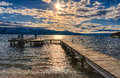 Dock on Okanagan Lake Kelowna British Columbia Canada Royalty Free Stock Photo