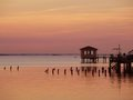 Dock at sunset and gazebo Stock Photo