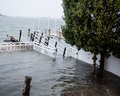 Dock underwater during Hurricane Sandy Stock Images