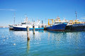 Docked Boats at Fremantle Marina With Blue Sky Royalty Free Stock Photo