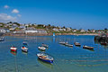 Docked boats in the harbour at st mawes cornwall Stock Images