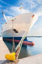 Docked dry cargo ship with bulbous bow Royalty Free Stock Photo