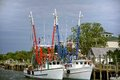 Docked Shrimp Boats Royalty Free Stock Photo