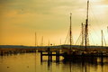 Docked yachts in marina at sunset sea port dusk background baltic sea scandinavia europe Stock Photos