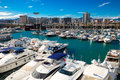 Docked yachts in port forum barcelona spain march many lying at barcelona spain march barcelona spain this one of the three ports Royalty Free Stock Images