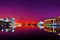 Dockland dublin night view of harbour ireland Stock Photography