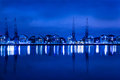 Dockland night scene nightscene at victoria docks in london Royalty Free Stock Image