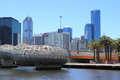 Docklands harbour contemporary buildings and webb bridge in melbourne Stock Images