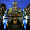 Docklands in london at christmas uk rd december a christmastime view of cabot square on rd december Royalty Free Stock Images