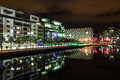 Docklands at night - Dublin Stock Image