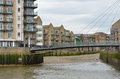 Docklands residential scene with small bridge Stock Photos