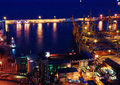 The docks in Barcelona at night Royalty Free Stock Photo