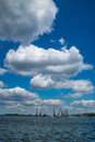 Docks on the dnieper working river in kiev under clear blue sky with clouds Royalty Free Stock Photo