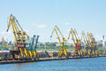 Dockside cranes industrial shipyard quay with heavy load in constanta port romania the largest on the black sea and the th largest Royalty Free Stock Photo