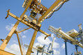 Dockside cranes used for unloading container ships low angle view of at limassol cyprus Stock Photo