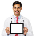 Docteur s r holding digital tablet Image stock