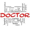 Docteur word cloud concept en rouge et le noir Photographie stock libre de droits