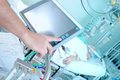 Doctor adjusting icu equipment in the ward hospital Stock Photos