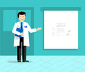 Doctor with banner or projection screen giving medical presentation. Doctor on presentation. Royalty Free Stock Photo