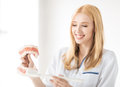 Doctor with big jaws smiling female and toothbrush Royalty Free Stock Photo