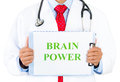 Doctor brain power closeup portrait of a health professional holding up a sign that says isolated on white background Stock Photos