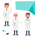 Doctor character man set with test results and stethoscope. Vector Illustration Royalty Free Stock Photo