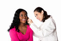 Doctor checking ear for infection happy smiling physician patient with otoscope isolated Royalty Free Stock Images