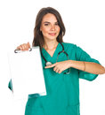 Doctor with a clipboard young female nurse student intern Stock Photos