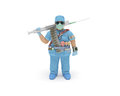 Doctor d man in full medical gear is ready to delivery of health care and fight with an illness Royalty Free Stock Photos