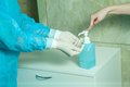 Doctor disinfect latex gloves with soap and water medicine health concept Stock Images