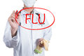 Doctor draw circle on flu Royalty Free Stock Photo