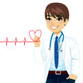 Doctor drawing heart a red electrocardiogram with pen on virtual screen Royalty Free Stock Image