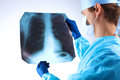 Doctor examining a lung radiography x-ray Royalty Free Stock Photo