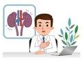 Doctor explaining the sick kidney