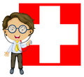 A doctor in front of the switzerland flag illustration on white background Stock Photo