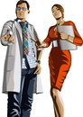 Doctor and girl with a laptop picture of man in lab coat glasses which holds bottle of pills next to him in orange dress Stock Photo